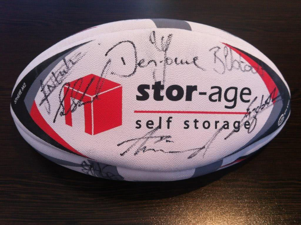 Deon Fourie signed rugby ball