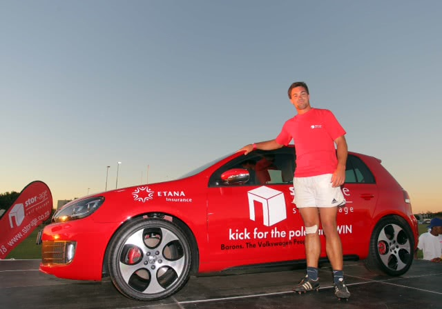 Stor-Age Self Storage rugby kick winner Doug Mallet with his new GTI
