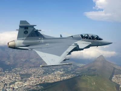 Gripen fighter jets in storage