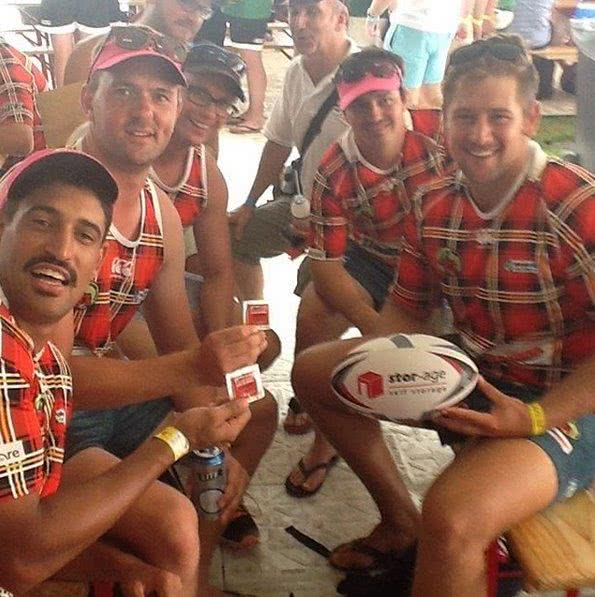 The Lumberjacks showing off their new rugby ball