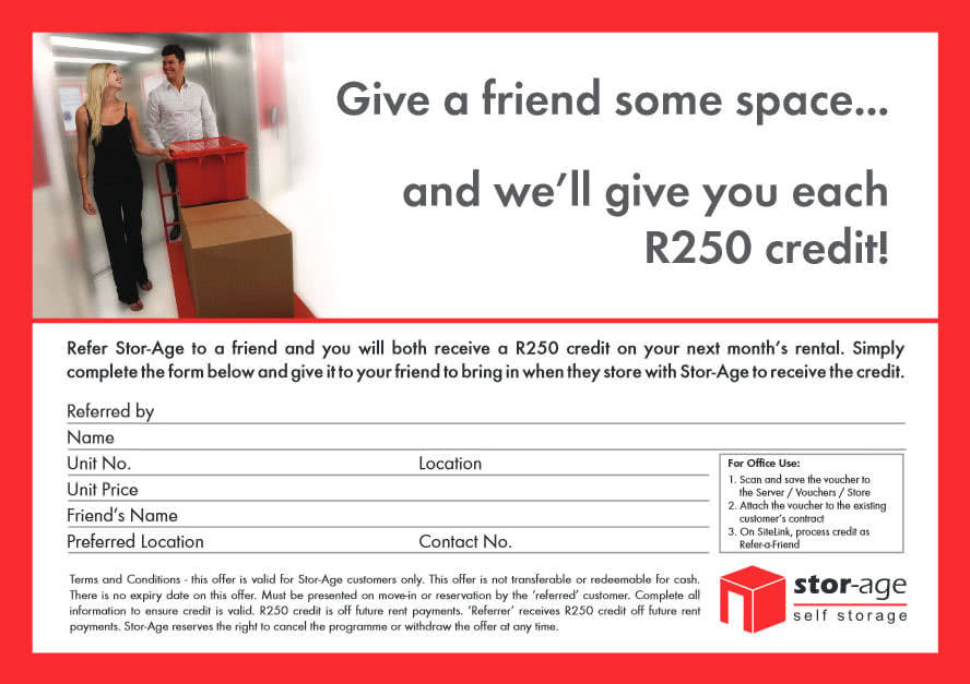 Stor-Age refer a friend self storage coupon