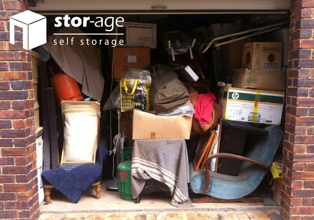 Stor-Age Self Storage unit with clutter