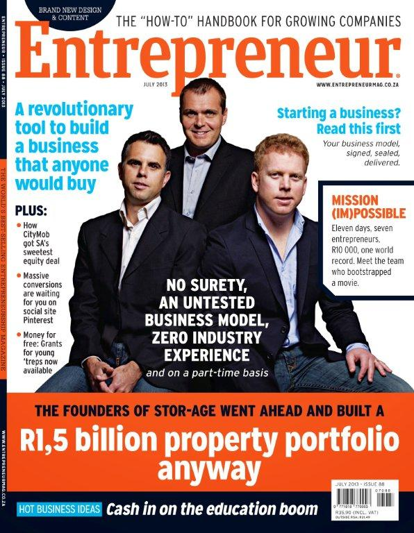 Stor-Age on the cover of Entrepreneur Magazine in South Africa