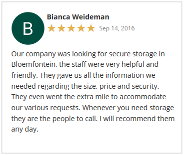 Stor-Age Google Reviews Bloemfontein